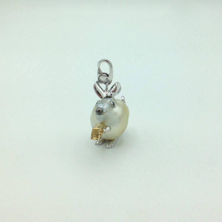 Diamond 18 Karat Gold Pear Mouse Pendant/Necklace or Charm Made in Italy 1