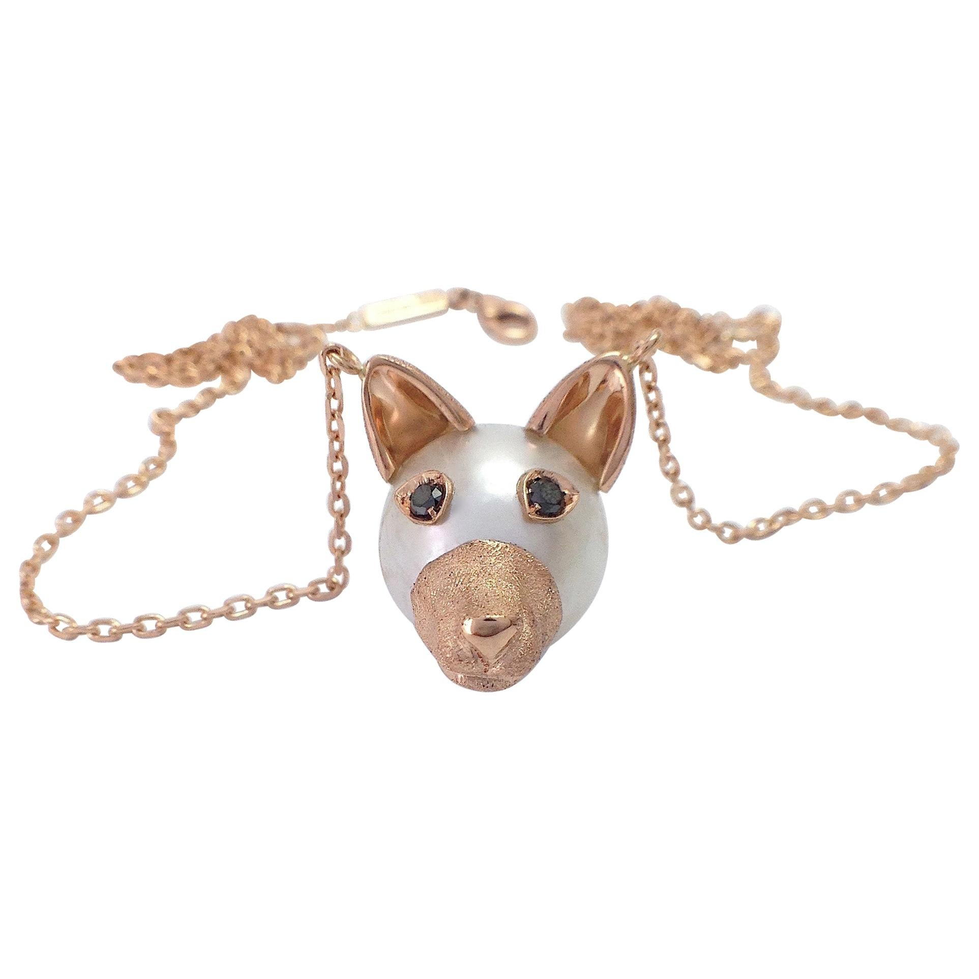 Petronilla Dog Black Diamond 18 Kt Red Gold Pearl Pendant Necklace Made in Italy