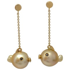 Fish Black Diamond Australian Pearl 18 Karat Gold Drop Dangle Earrings