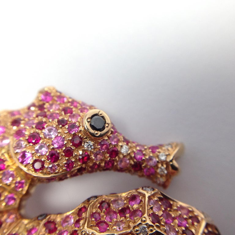 Petronilla Hippocampus Sea Horse Diamond Pink Sapphire Ruby 18Kt Gold Ring For Sale 8