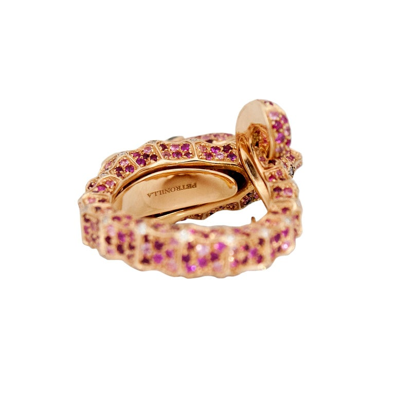 Petronilla Hippocampus Sea Horse Diamond Pink Sapphire Ruby 18Kt Gold Ring In New Condition For Sale In Bussolengo, Verona