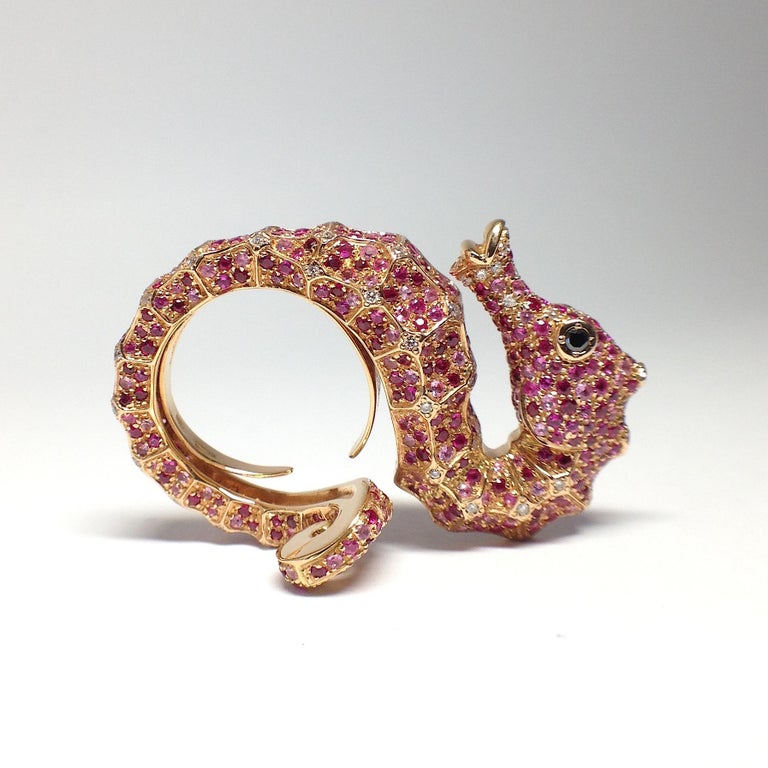 Women's Petronilla Hippocampus Sea Horse Diamond Pink Sapphire Ruby 18Kt Gold Ring For Sale