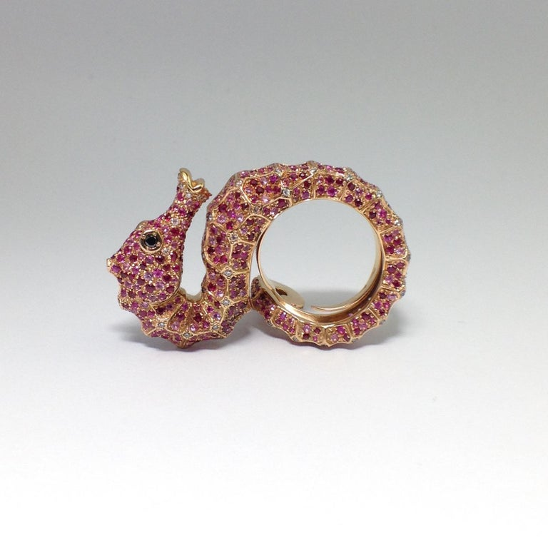 Petronilla Hippocampus Sea Horse Diamond Pink Sapphire Ruby 18Kt Gold Ring For Sale 1