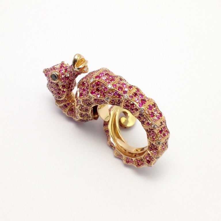 Petronilla Hippocampus Sea Horse Diamond Pink Sapphire Ruby 18Kt Gold Ring For Sale 2