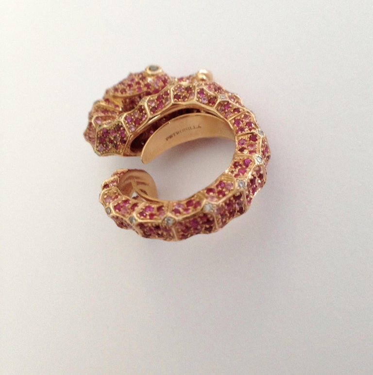 Petronilla Hippocampus Sea Horse Diamond Pink Sapphire Ruby 18Kt Gold Ring For Sale 3