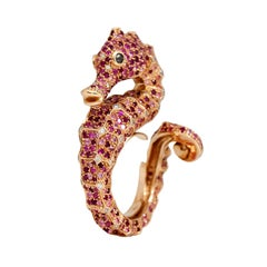 Petronilla Hippocampus Sea Horse Diamond Pink Sapphire Ruby 18Kt Gold Ring