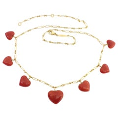 Italian Natural Red Coral Heart Necklace Handmade 18 Karat Gold