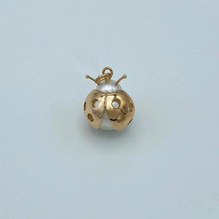 Contemporary Ladybug/Bird Red 18 Karat Gold Australian Pearl Lucky Pendant/Necklace For Sale