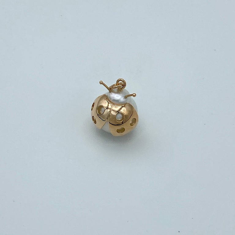 Ladybug/Bird Red 18 Karat Gold Australian Pearl Lucky Pendant/Necklace In New Condition For Sale In Bussolengo, Verona