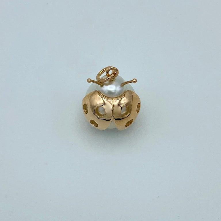 Women's Ladybug/Bird Red 18 Karat Gold Australian Pearl Lucky Pendant/Necklace For Sale