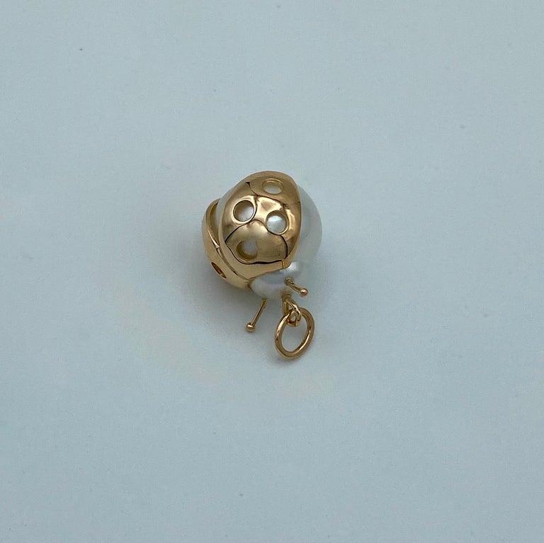 Ladybug/Bird Red 18 Karat Gold Australian Pearl Lucky Pendant/Necklace For Sale 1