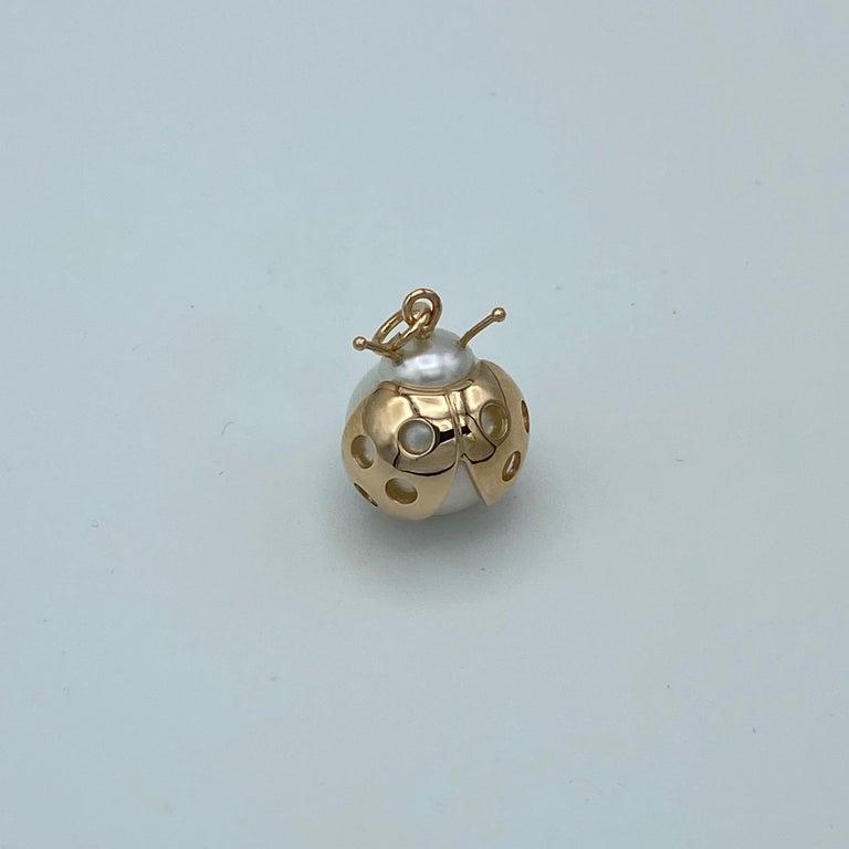 Ladybug/Bird Red 18 Karat Gold Australian Pearl Lucky Pendant/Necklace For Sale 2