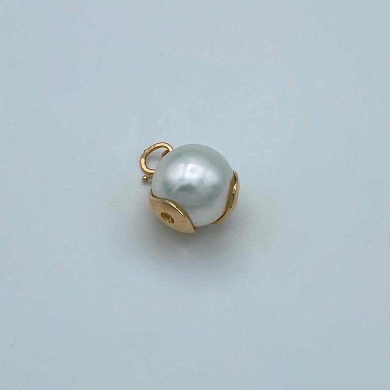 Ladybug/Bird Red 18 Karat Gold Australian Pearl Lucky Pendant/Necklace For Sale 3