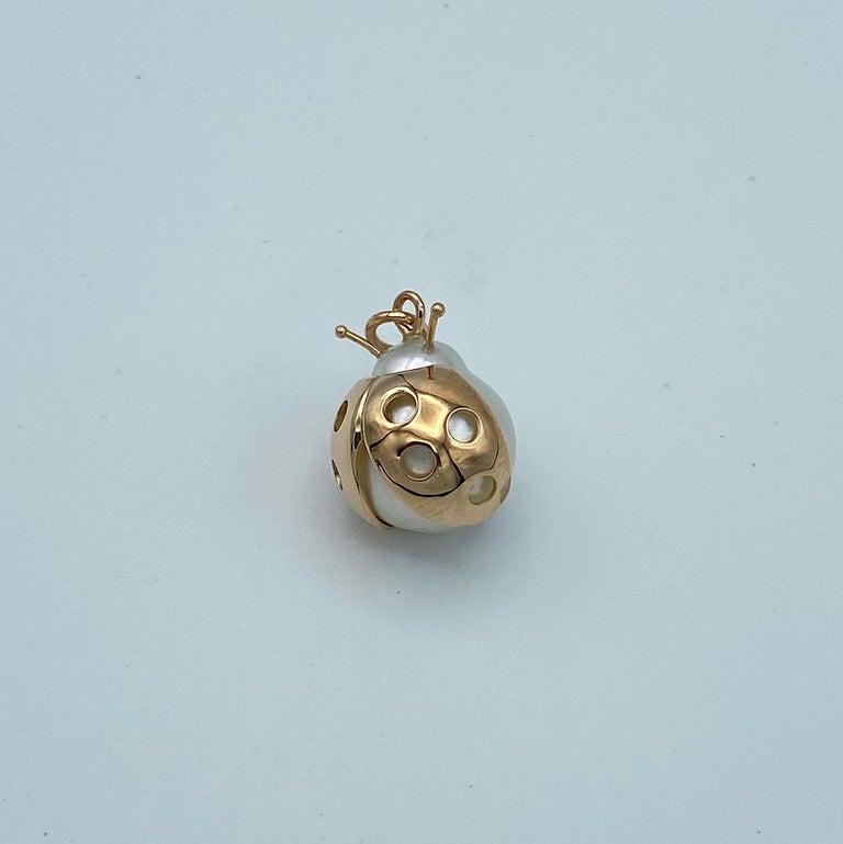 Ladybug/Bird Red 18 Karat Gold Australian Pearl Lucky Pendant/Necklace For Sale 4