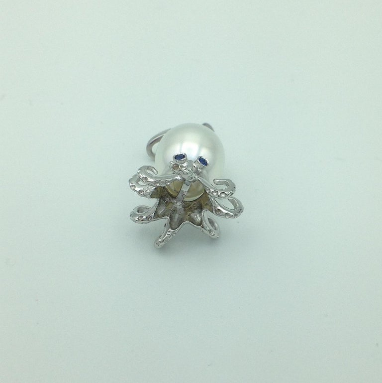 Contemporary Octopus Blue Sapphire White 18 Karat Gold Pearl Pendant/Necklace and Charm For Sale