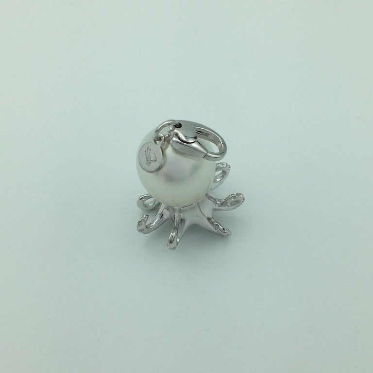 Women's Octopus Blue Sapphire White 18 Karat Gold Pearl Pendant/Necklace and Charm For Sale