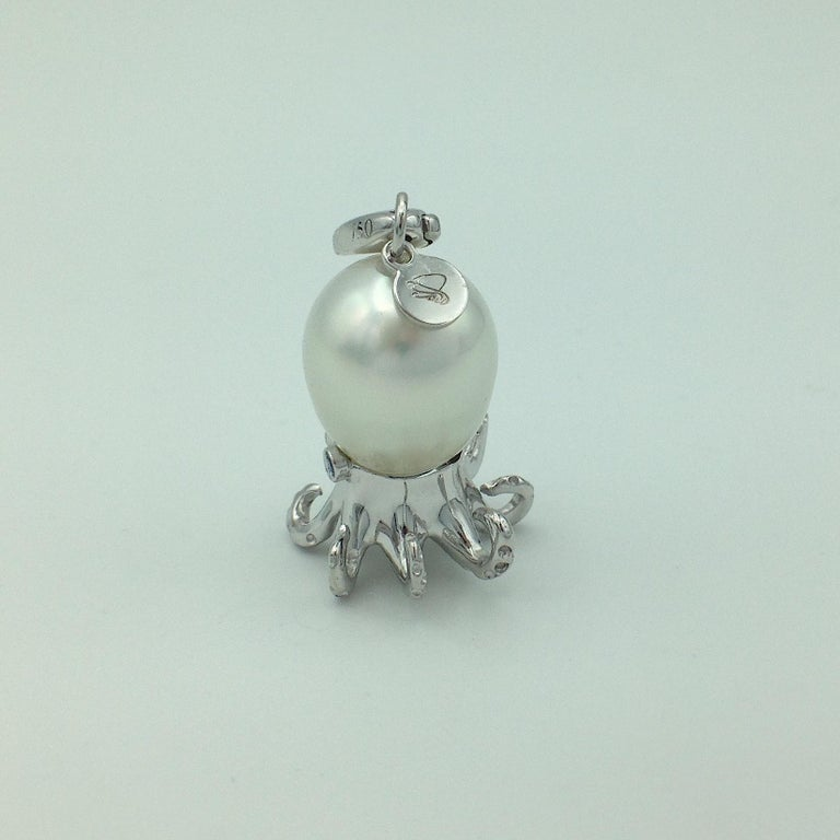 Octopus Blue Sapphire White 18 Karat Gold Pearl Pendant/Necklace and Charm For Sale 1