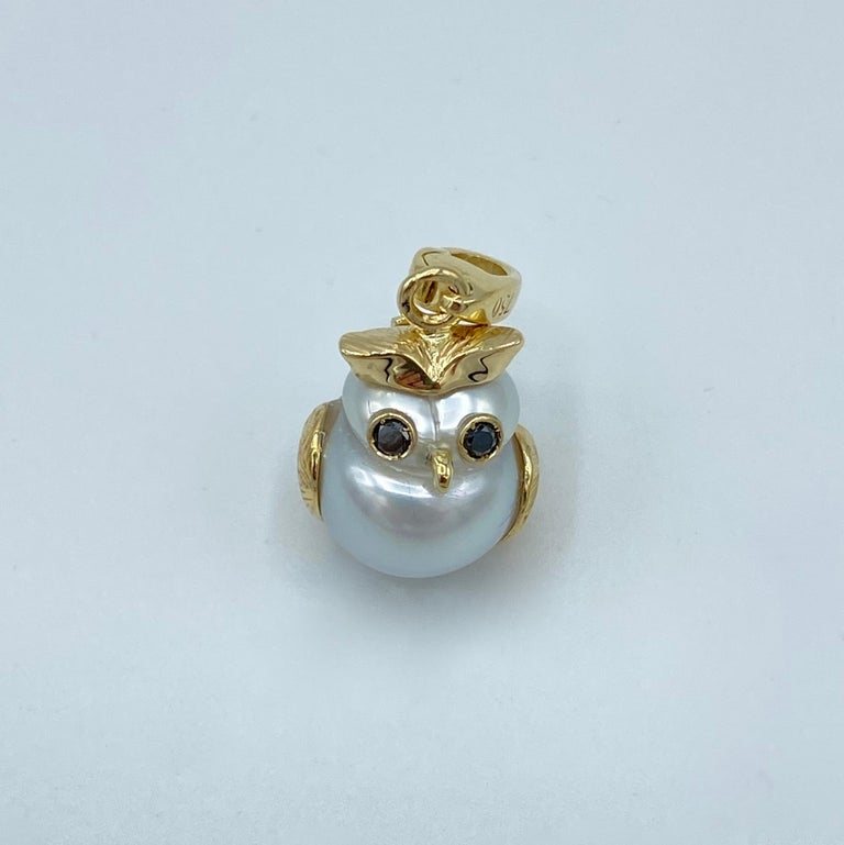 Contemporary Owl Black Diamond 18Kt Australian Pearl Charm or Pendant Necklace Petronilla For Sale