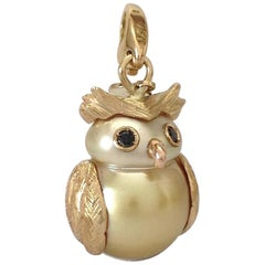 Petronilla Owl Diamond 18 Karat Gold Australian Pearl Charm or Pendant Necklace