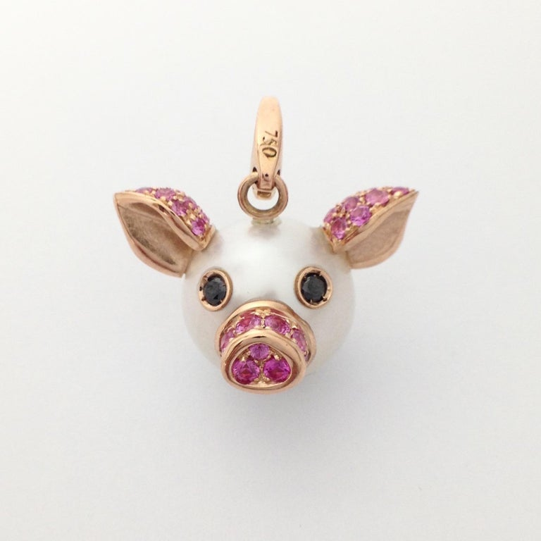 Pig Diamond Sapphire 18 Karat Red Gold Pearl Pendant Necklace and Charm For Sale 5