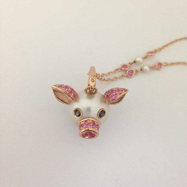 Artisan Pig Diamond Sapphire 18 Karat Red Gold Pearl Pendant Necklace and Charm For Sale