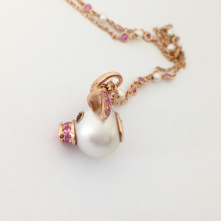 Pig Diamond Sapphire 18 Karat Red Gold Pearl Pendant Necklace and Charm In New Condition For Sale In Bussolengo, Verona