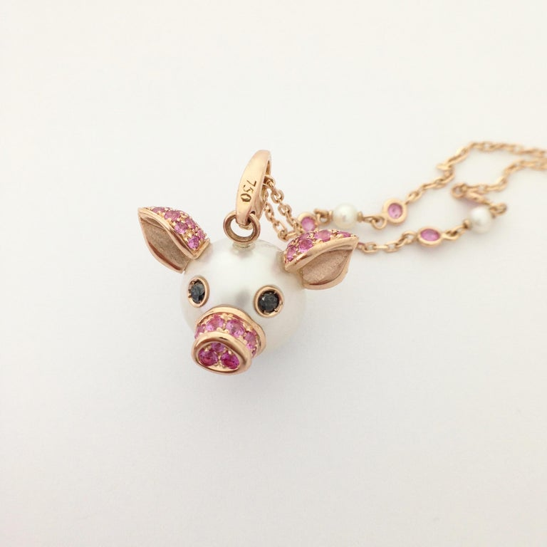 Pig Diamond Sapphire 18 Karat Red Gold Pearl Pendant Necklace and Charm For Sale 3