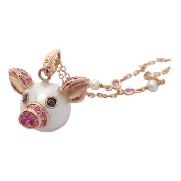 Pig Diamond Sapphire 18 Karat Red Gold Pearl Pendant Necklace and Charm For Sale
