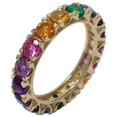 Rainbow Sapphire Emerald Semiprecious Stone 18 Karat Gold Ring Made in Italy