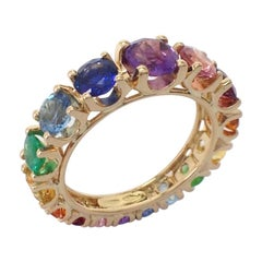 Eternity Rainbow Sapphire Emerald Tzavorite Semiprecious 18Kt Gold Ring