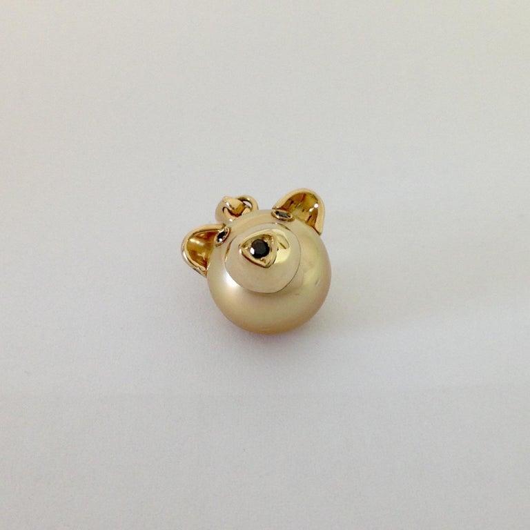 Women's or Men's Teddy Bear Black Diamond 18 Karat Gold Charm or Pendant Necklace For Sale