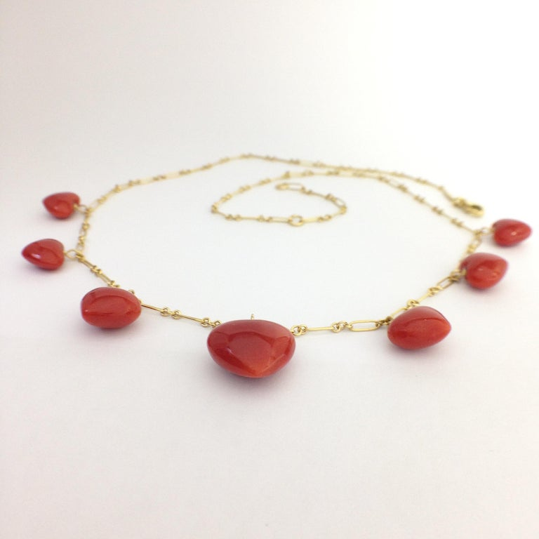 Artisan Petronilla Red Coral Heart Necklace Handmade in Italy 18 Karat Gold For Sale