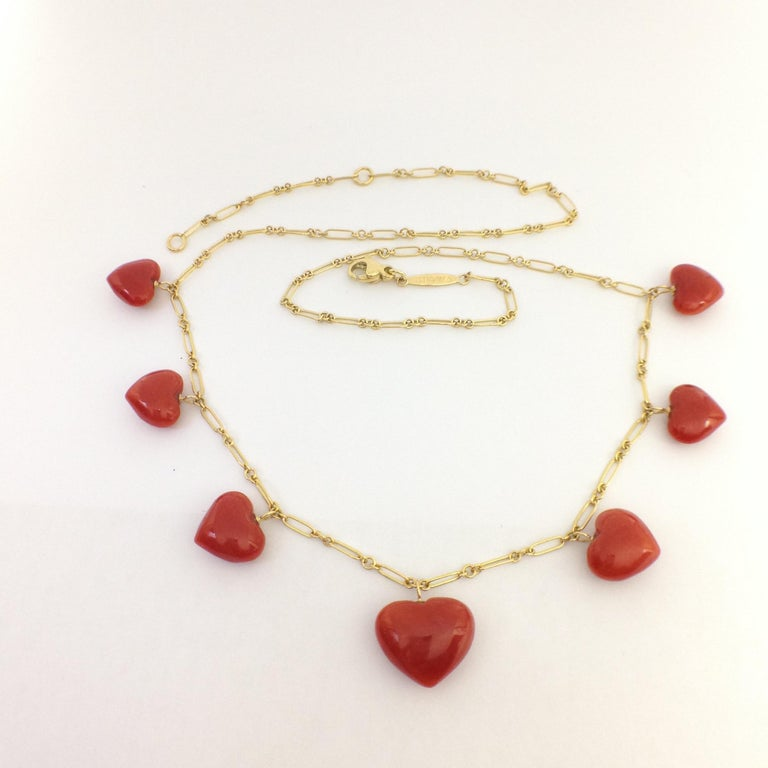 Petronilla Red Coral Heart Necklace Handmade in Italy 18 Karat Gold For Sale 3