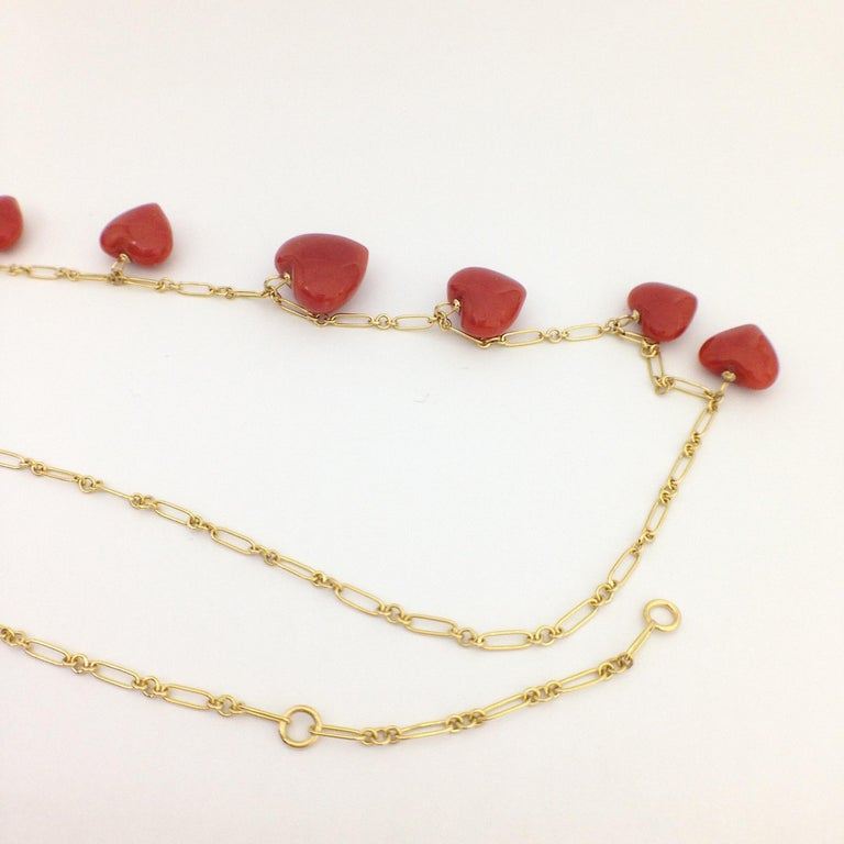 Petronilla Red Coral Heart Necklace Handmade in Italy 18 Karat Gold For Sale 5