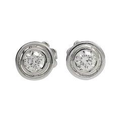 Petronilla White Diamond 18 Karat Gold Stud Earrings Made in Italy