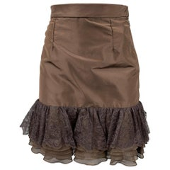 PETROU Size 2 Brown Silk Lace Ruffle Skirt