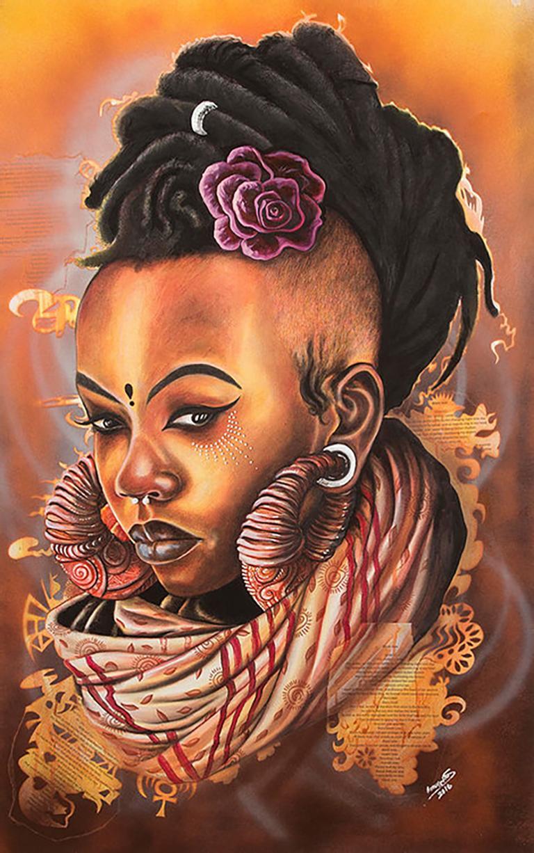 Manaka, Petrus Amuthenu, mixed media (charcoal & spray paint) on paper