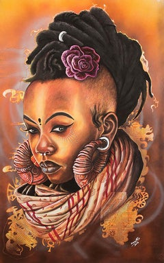 Manaka, Petrus Amuthenu, mixed media (charcoal & spray paint) on paper