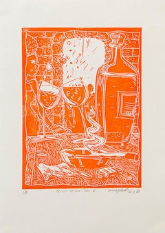 18:30 Wine Time, Petrus Amuthenu, Linoleum block print on paper