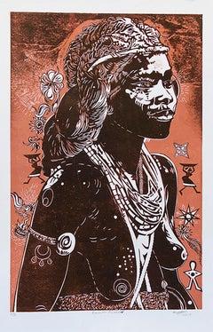 Balantu Woman, Petrus Amuthenu, cardboard block print on paper