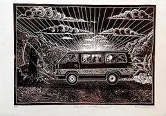 Death on the road!, Petrus Amuthenu, Linoleum block print on fabriano paper