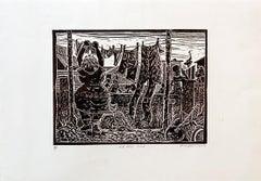 On the line, Petrus Amuthenu, Linoleum block print on fabriano paper