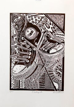 Oshikapute!, Petrus Amuthenu, Linoleum block print on paper