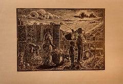 Saturday morning in Tura, Petrus Amuthenu, Linoleum block print on brown paper