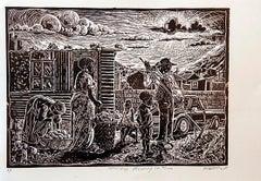 Saturday morning in Tura, Petrus Amuthenu, Linoleum block print on paper