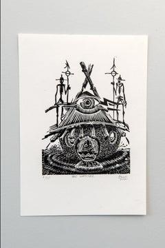 The Watcher, Petrus Amuthenu, linoleum block print on paper