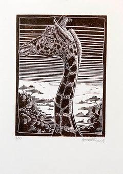 Untitled (Giraffe), Petrus Amuthenu, Linoleum block print on paper