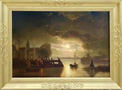 Large 19th century dutch painting of a river landscape by moon - night genre