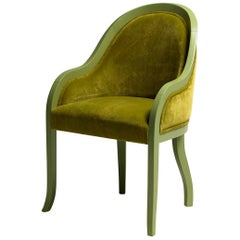 Petunia Armchair in Green Lacquered Wood and Velvet Upholstery by Aldo Cibic