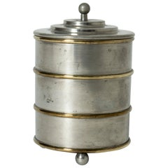 Pewter and Brass Jar from Herman Bergman